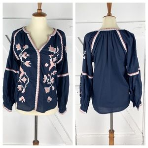 Anthro RD + Koko Embroidered Peasant Top